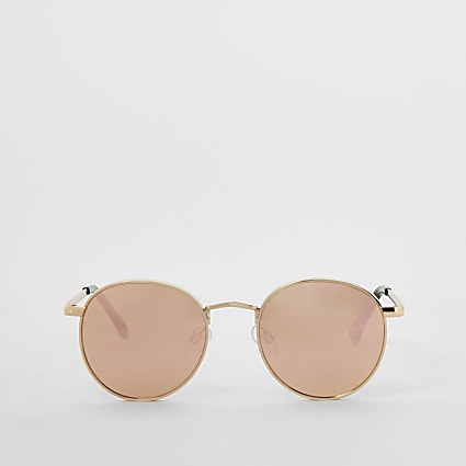 Gold chunky round mirrored sunglasses