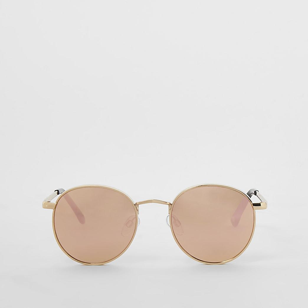 Goudkleurige stevige ronde gespiegelde zonnebril