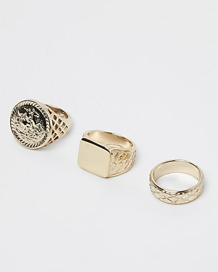 Gold chunky signet multipack rings