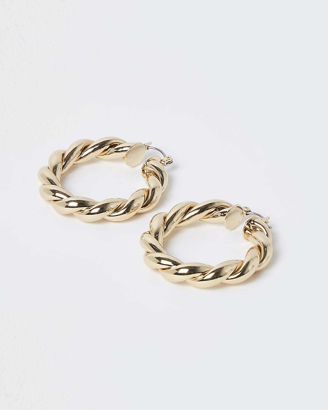Gold chunky twist hoop earrings