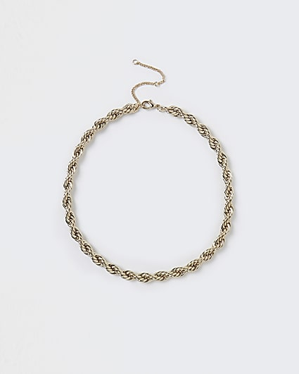 Gold chunky twist necklace