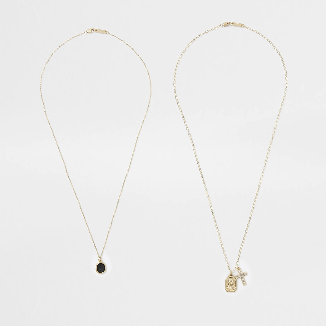 Gold cluster necklaces 2 pack