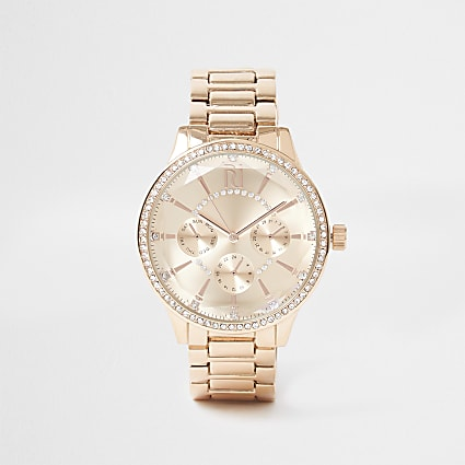 Gold coated round face watch