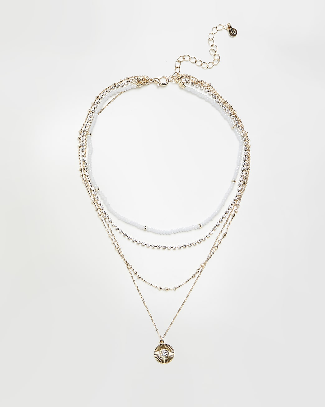 Gold coin multirow necklace