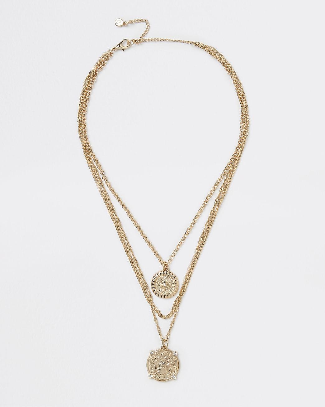 Gold coin pendant multirow necklace