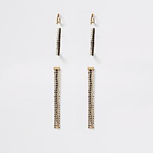 Goldfarbene und schwarze Ohrringe mit Stein im3er Pack