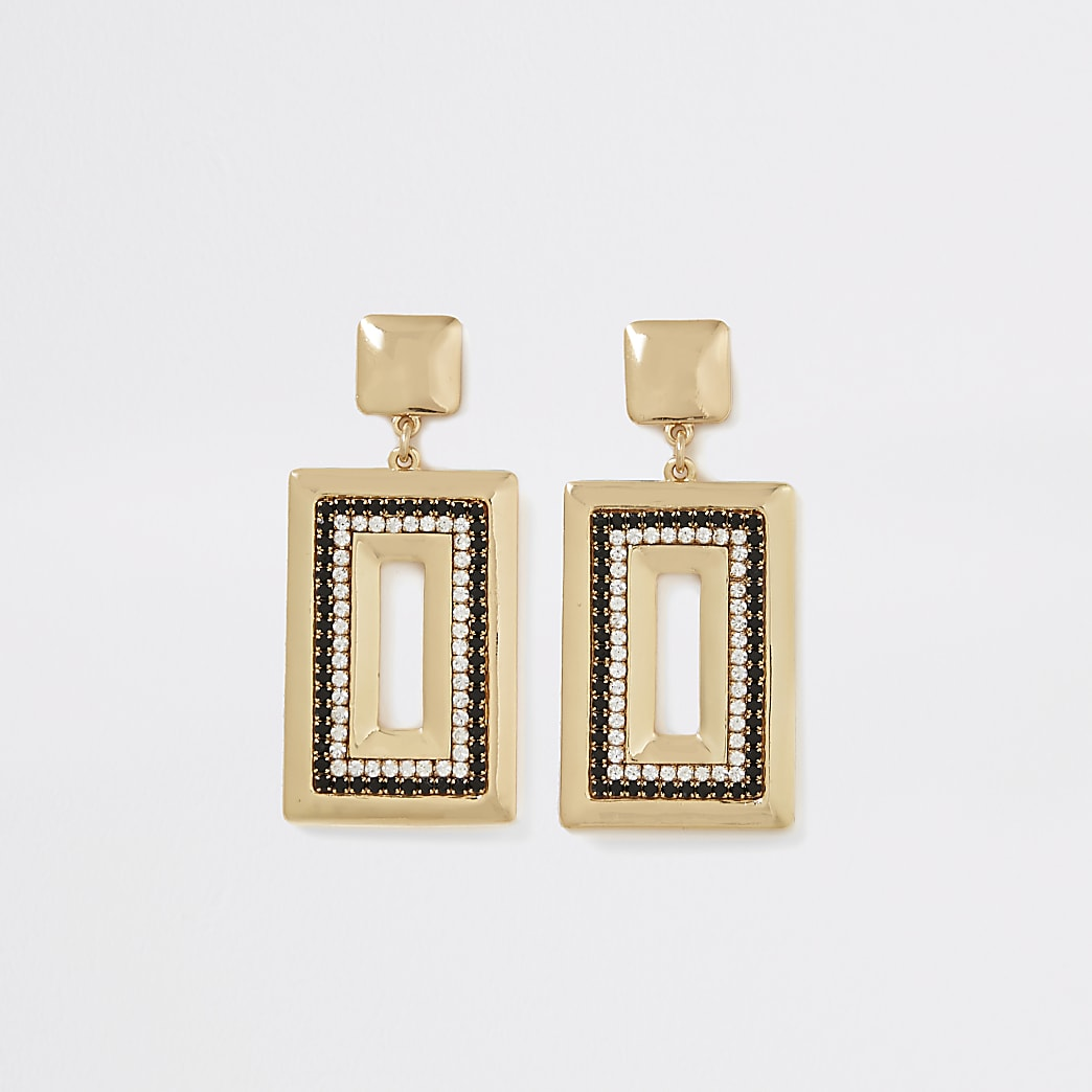 Gold colour and black rectangle earrings