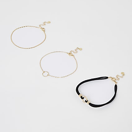 Gold colour anklet 3 pack