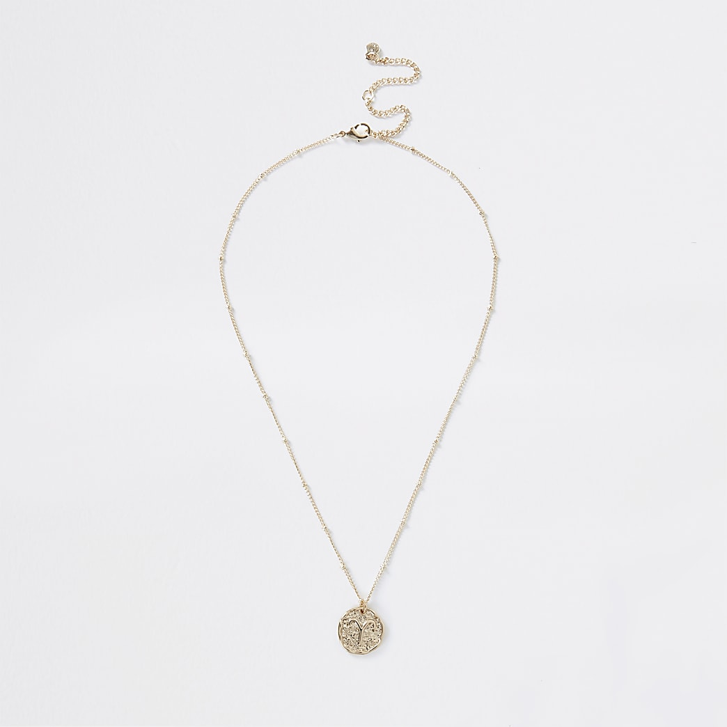 Gold colour Aries horoscope coin necklace
