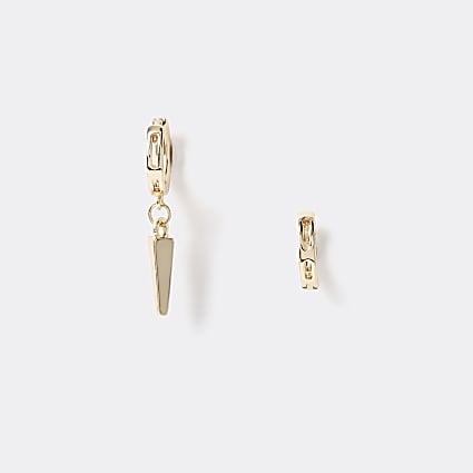 Gold colour asymmetric spike hoop earrings