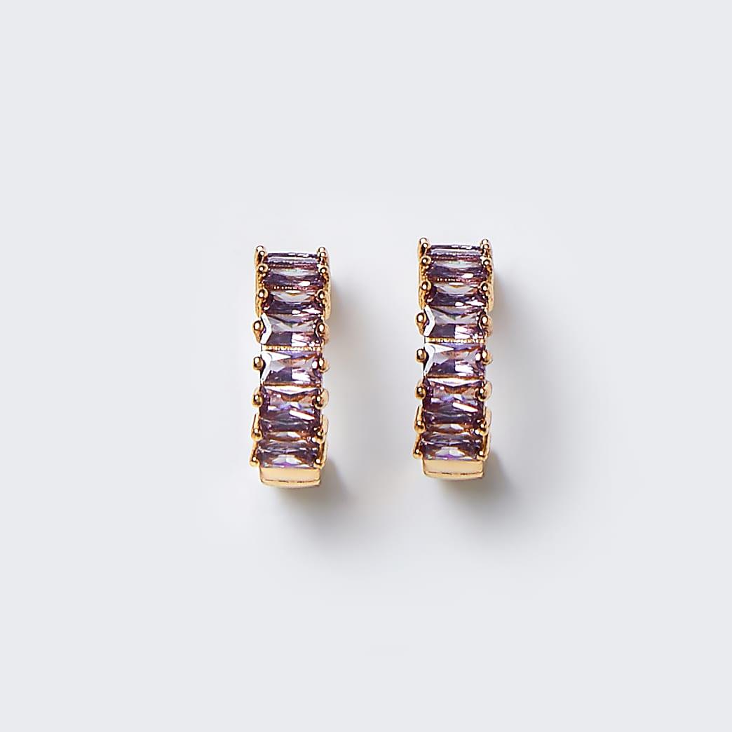 Gold colour baguette pink stone hoop earrings
