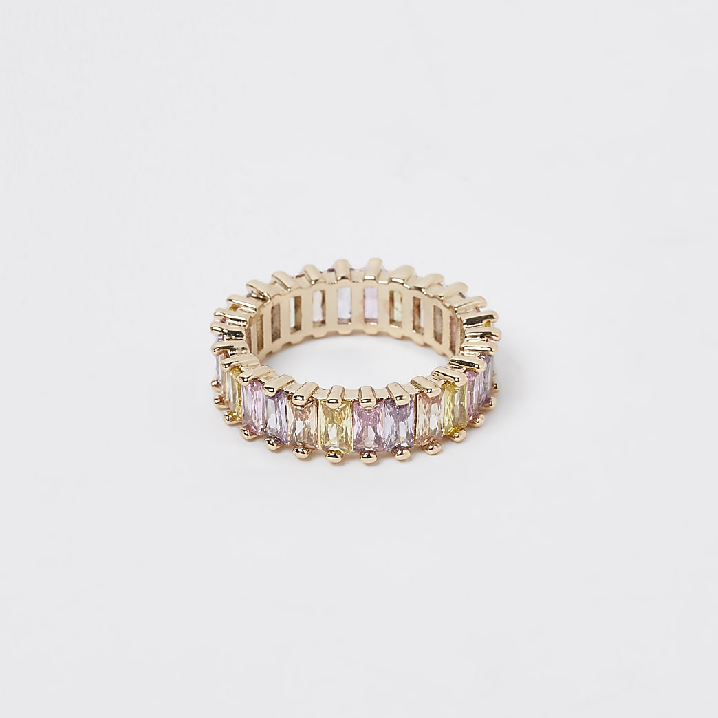 Gold colour baguette stone ring