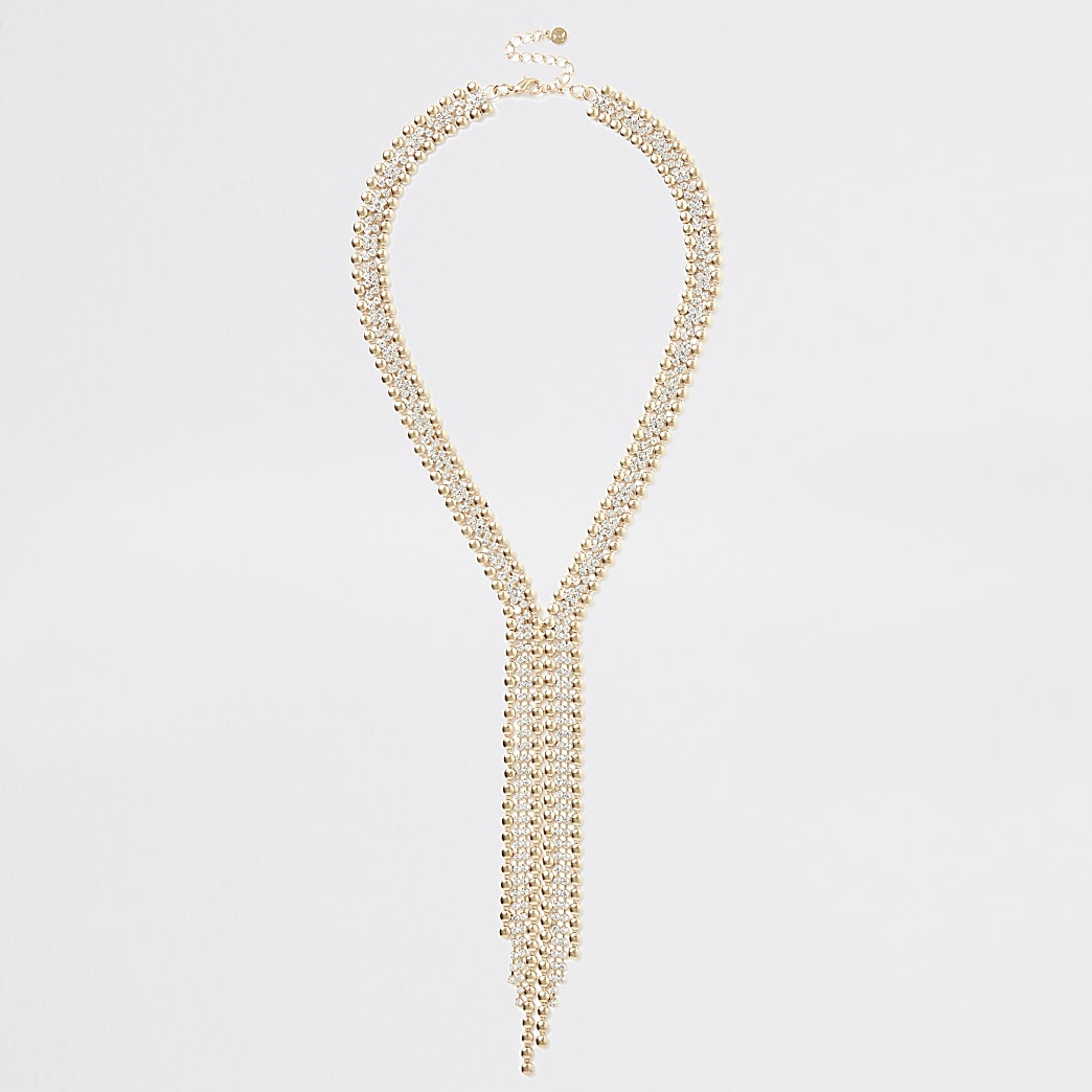 Gold colour bead and diamante paved necklace