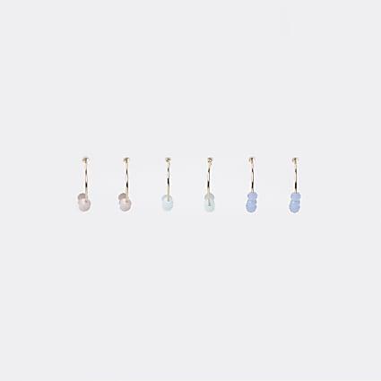Gold colour bead hoop earrings 3 pack