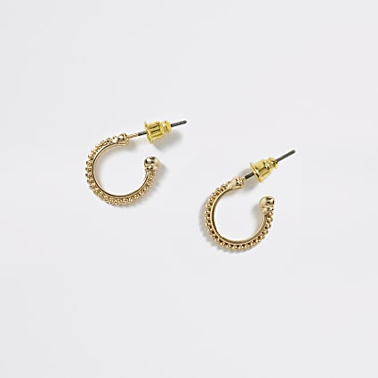 Gold colour beaded hoop earrings