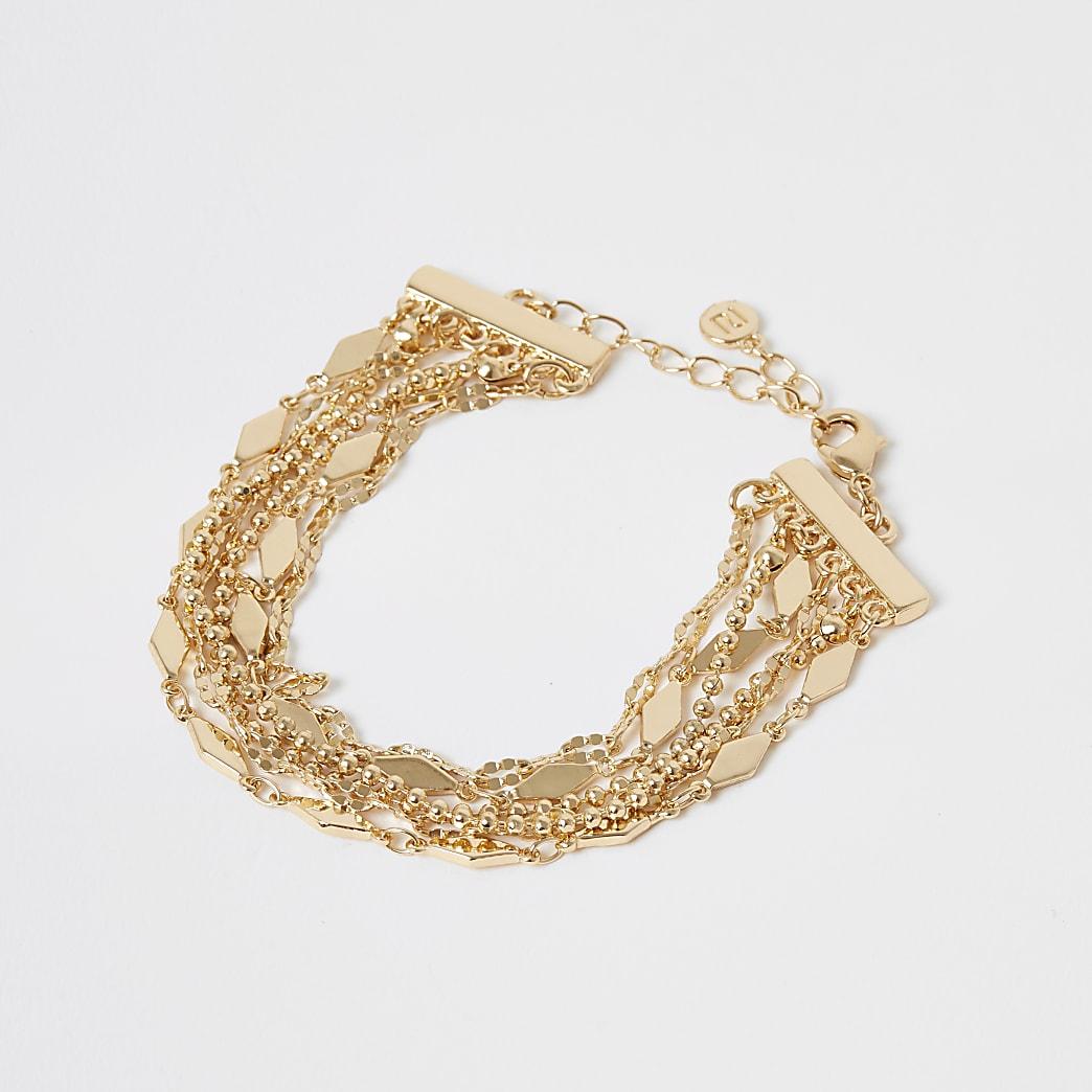 Gold colour beaded layered bracelet