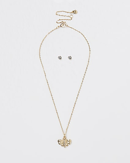 Gold colour bee necklace and earrings set