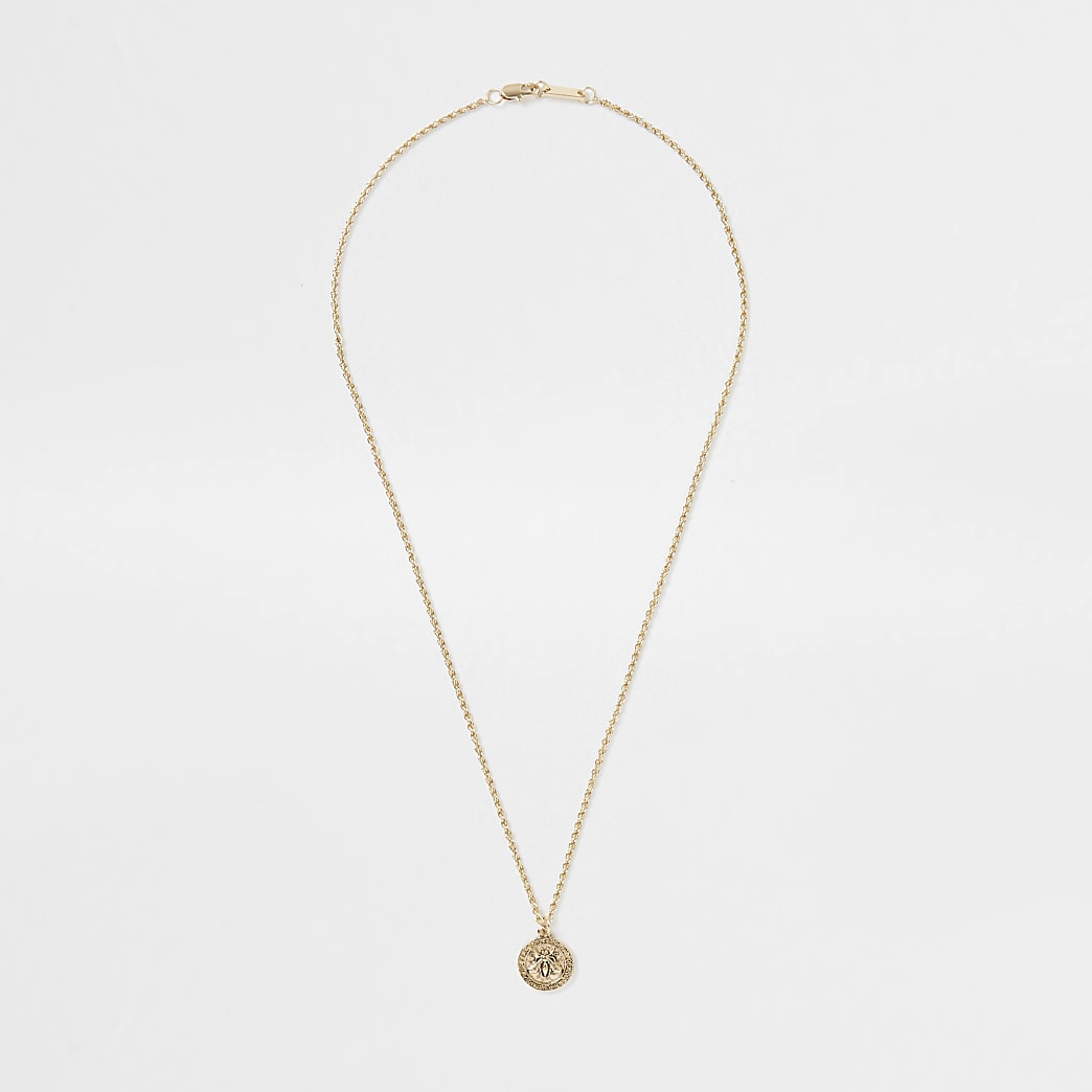 Gold colour bee pendant necklace