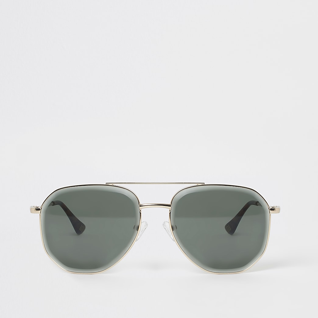 Goudkleurige afgeschuinde pilotenzonnebril