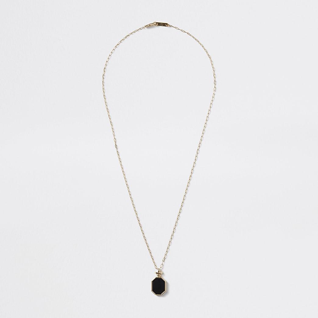 Gold colour black enamel pendant necklace