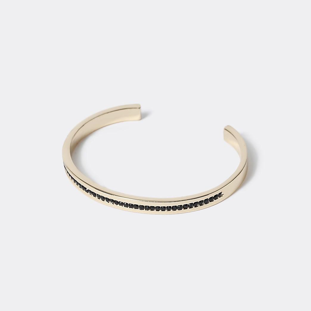 Gold colour black stone cuff bracelet