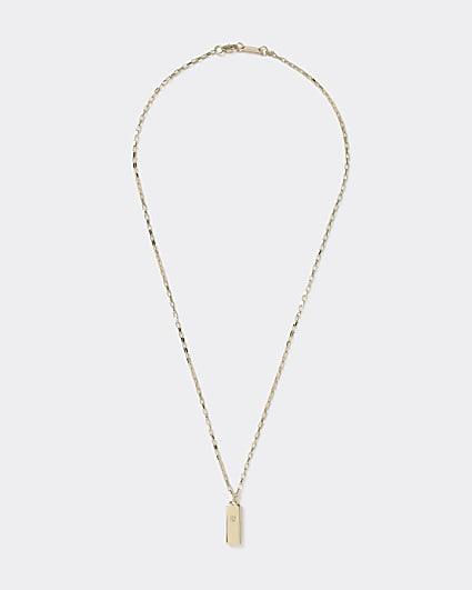 Gold colour block pendant necklace