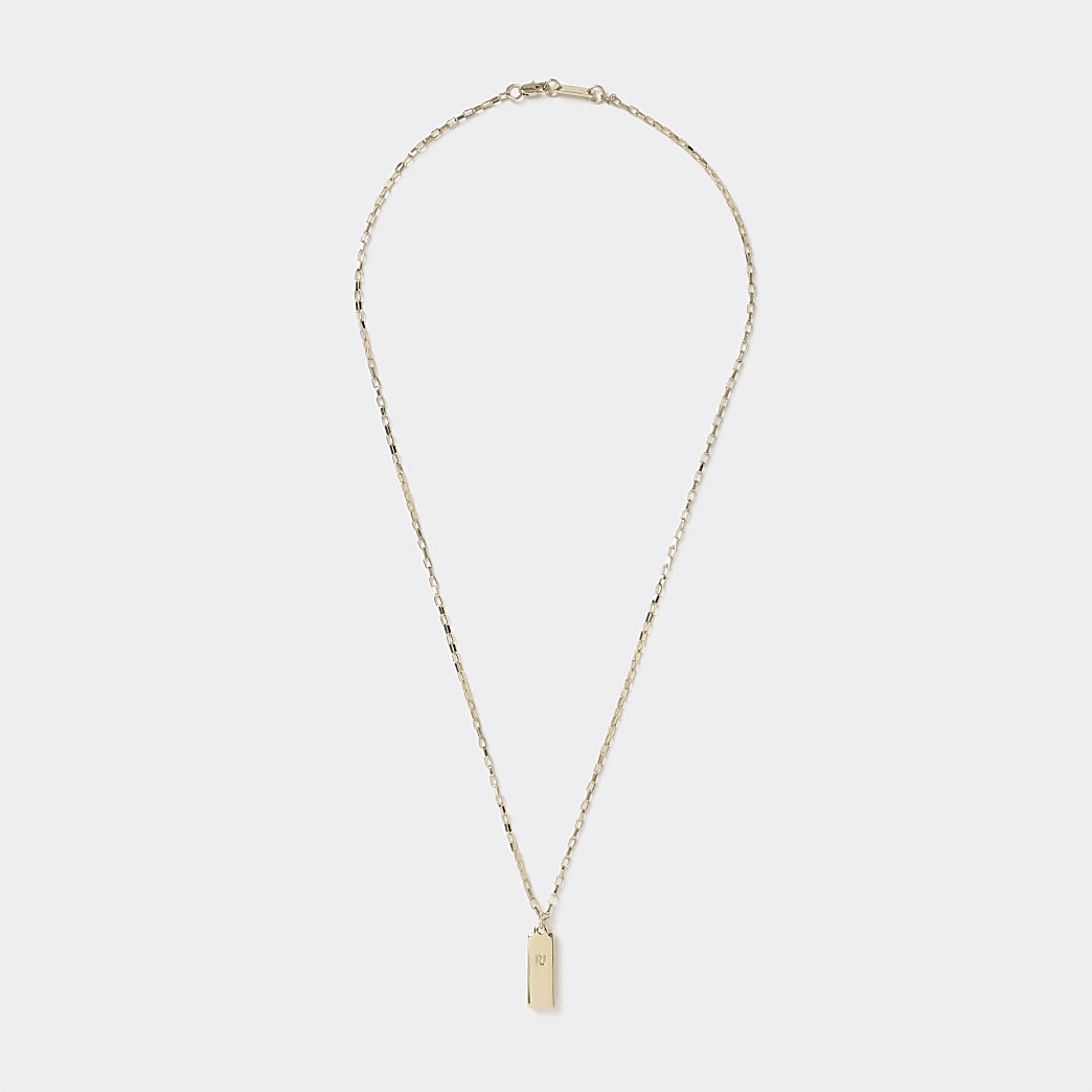 Gold colour block pendant necklace