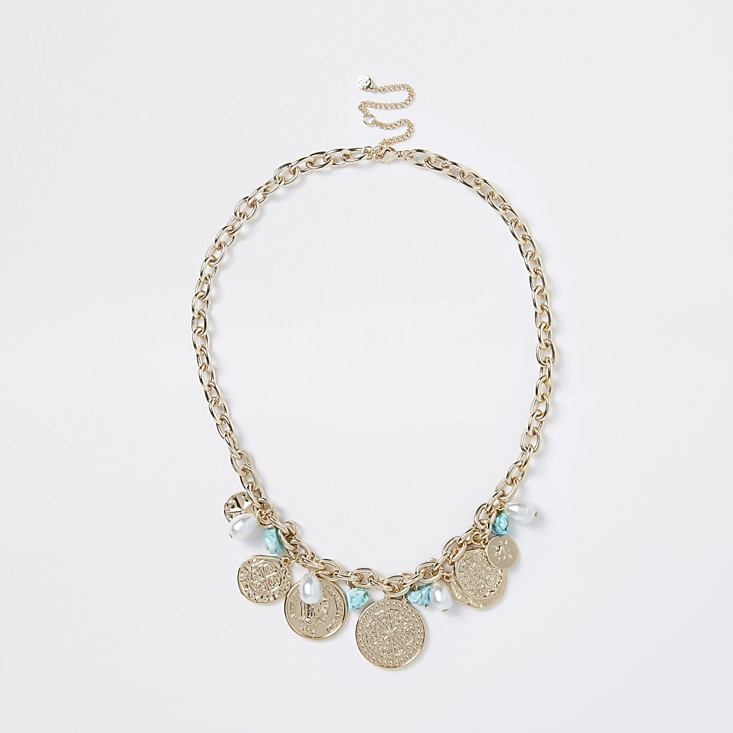 Gold colour blue pearl chain necklace
