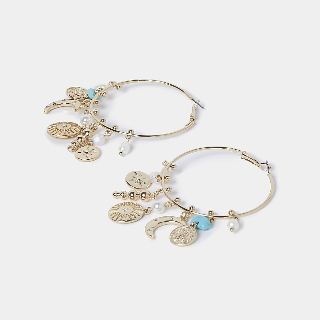 Gold colour blue stone charm hoop earrings