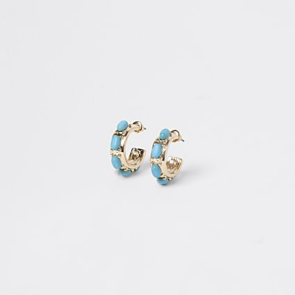 Gold colour blue stone hoop earrings