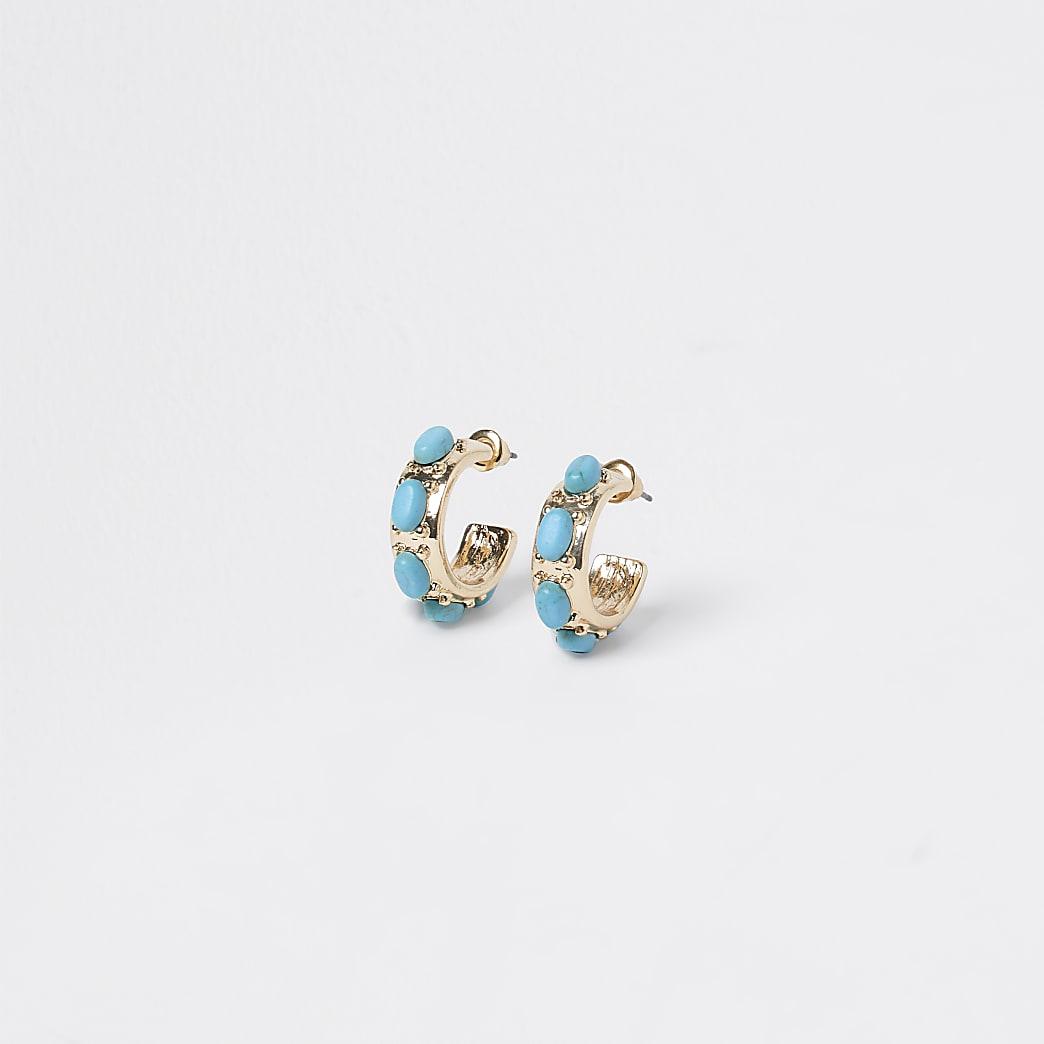 Gold colour blue stone hoop earrings