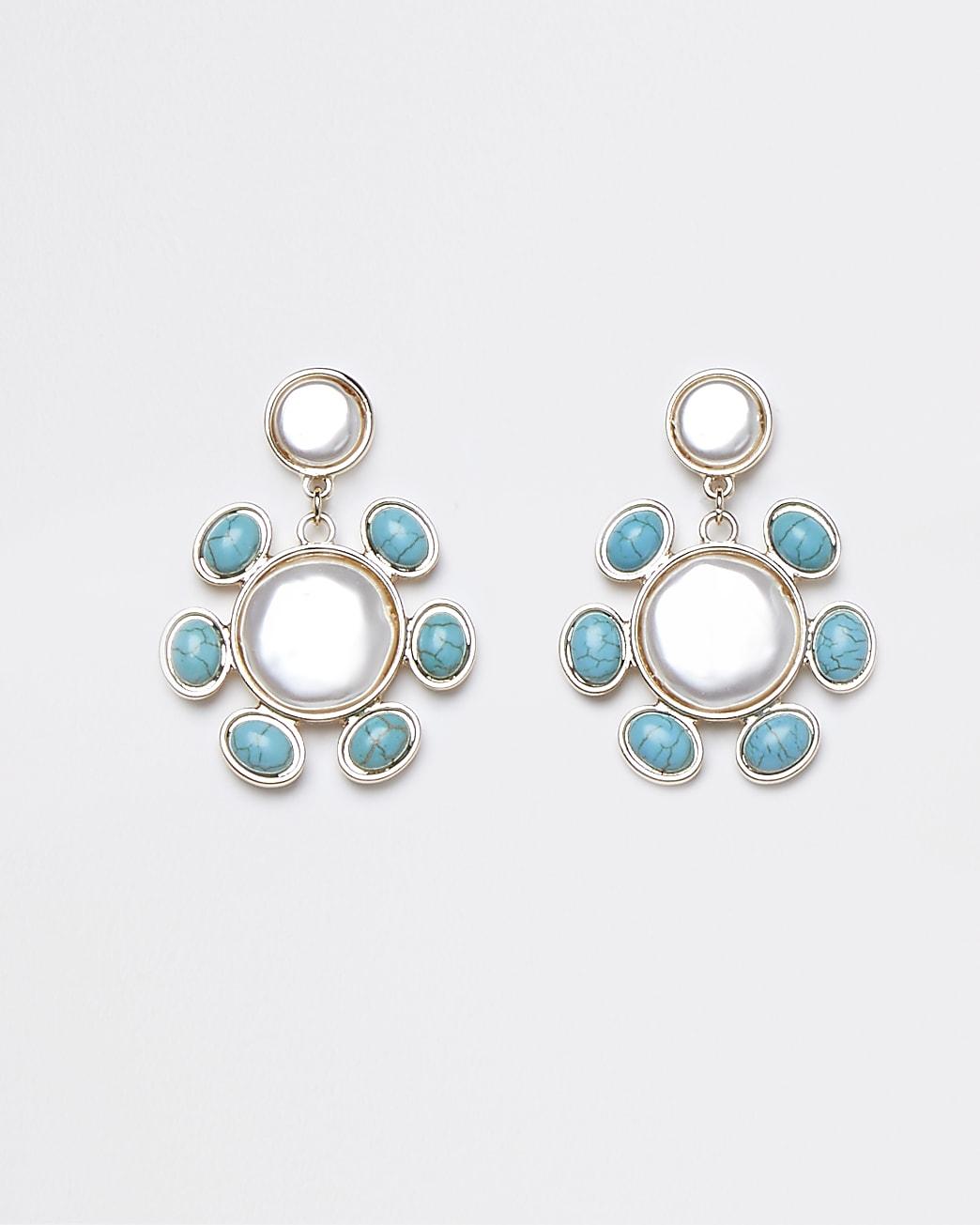 Gold colour blue stone pearl drop earrings
