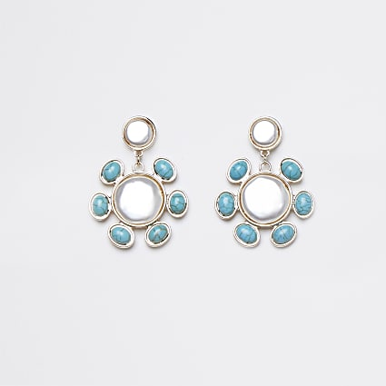 Gold colour blue stone pearl drop earrings