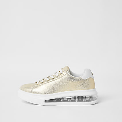 Gold colour bubble lace up outsole trainers