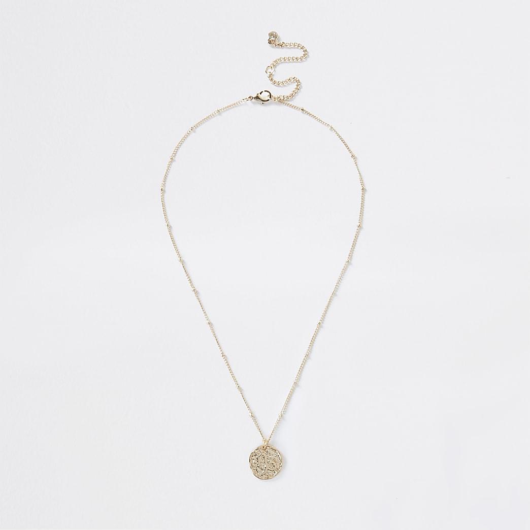 Gold colour capricorn horoscope coin necklace