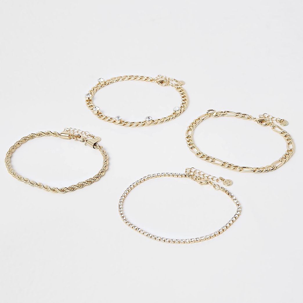 Gold colour chain anklet 4 pack