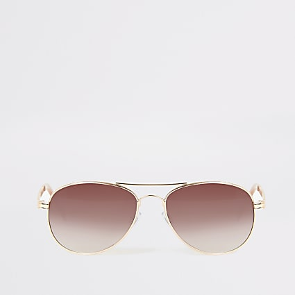 Gold colour chain arm aviator sunglasses