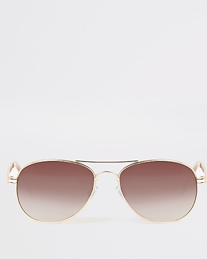 Gold colour chain arm aviator sunglasses