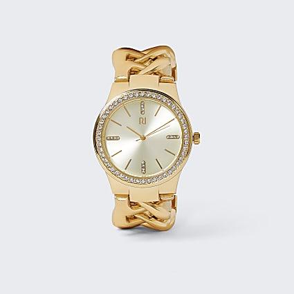 Gold colour chain bracelet watch