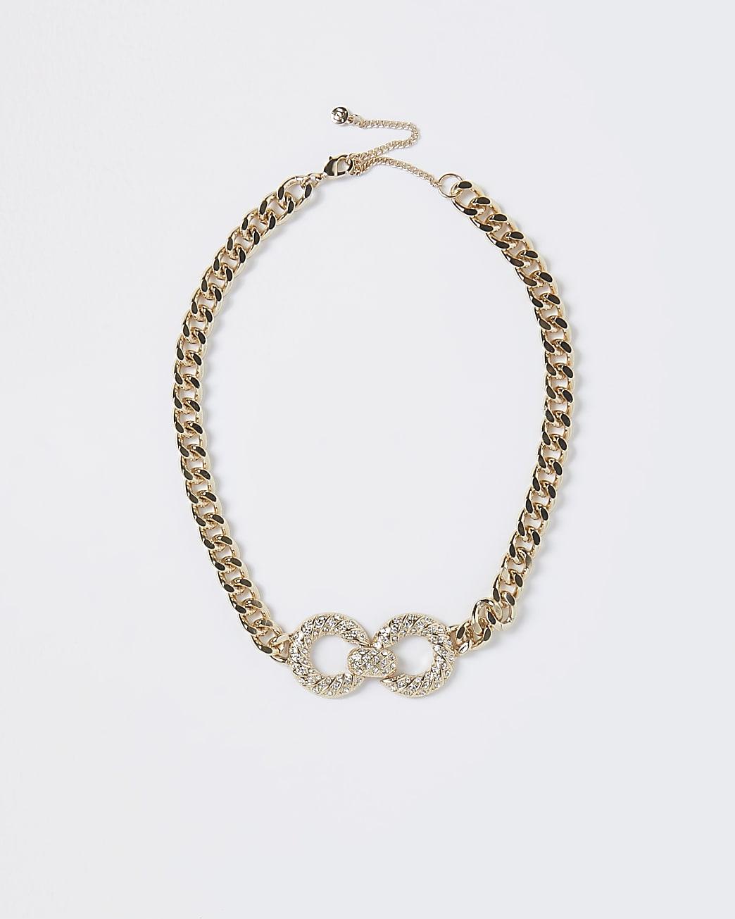 Gold colour chain diamante choker necklace