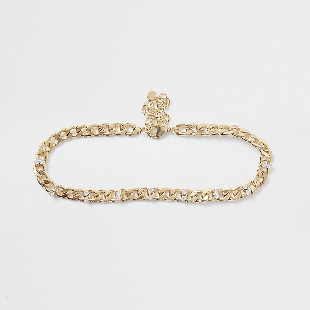 Gold colour chain diamante choker necklace
