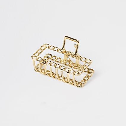 Gold colour chain diamante hair clip