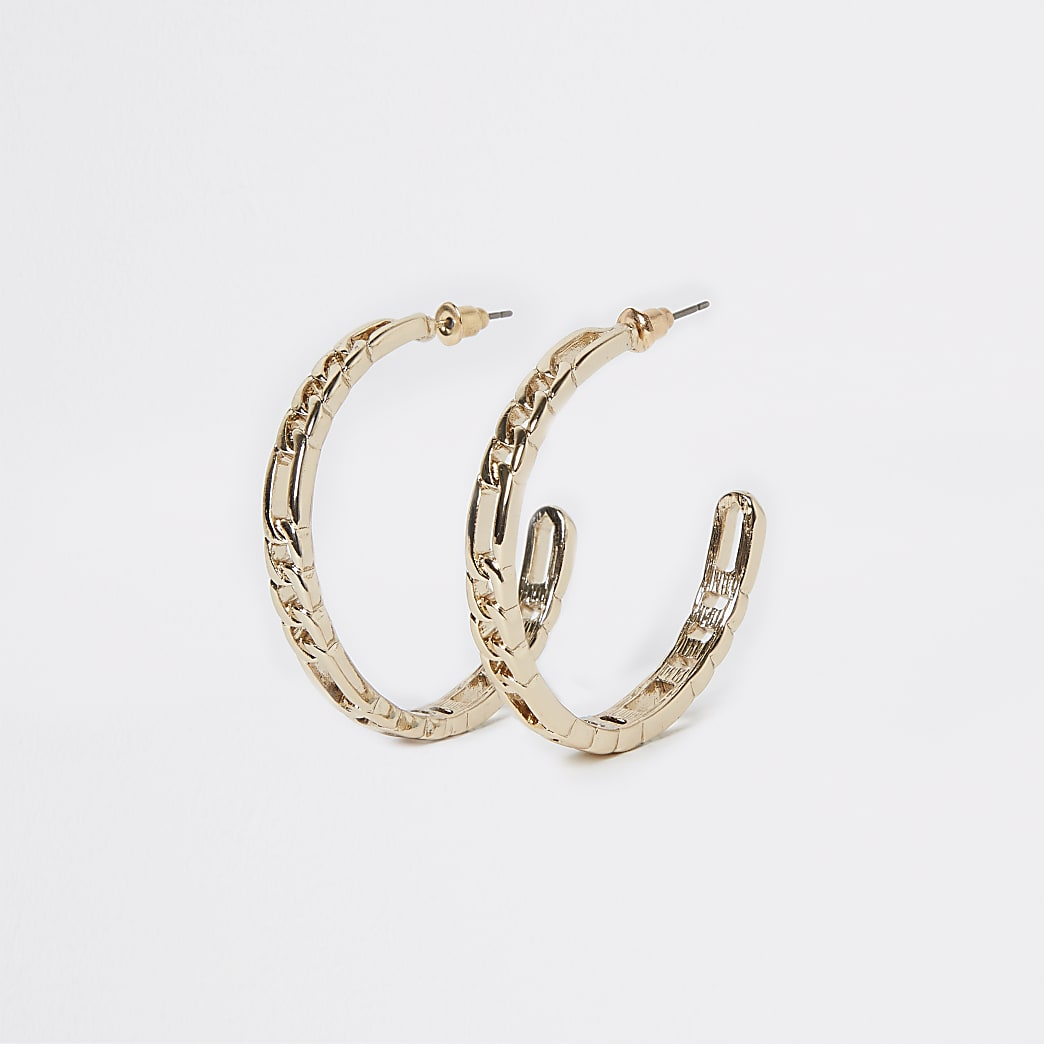Gold colour chain hoop earrings