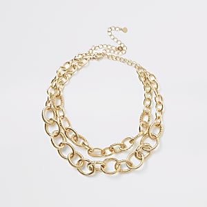 Gold colour chain layered necklace 2 pack