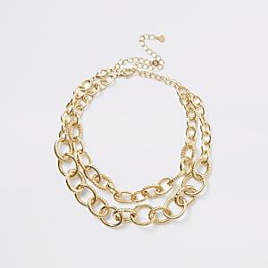 Goldfarbene Halskette im Lagenlook,2-Pack