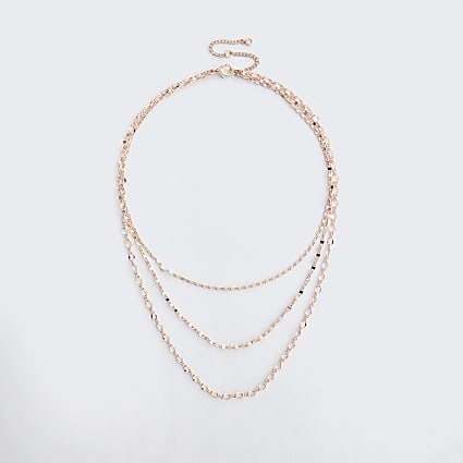 Gold colour chain layered necklace