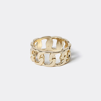 Gold colour chain link ring
