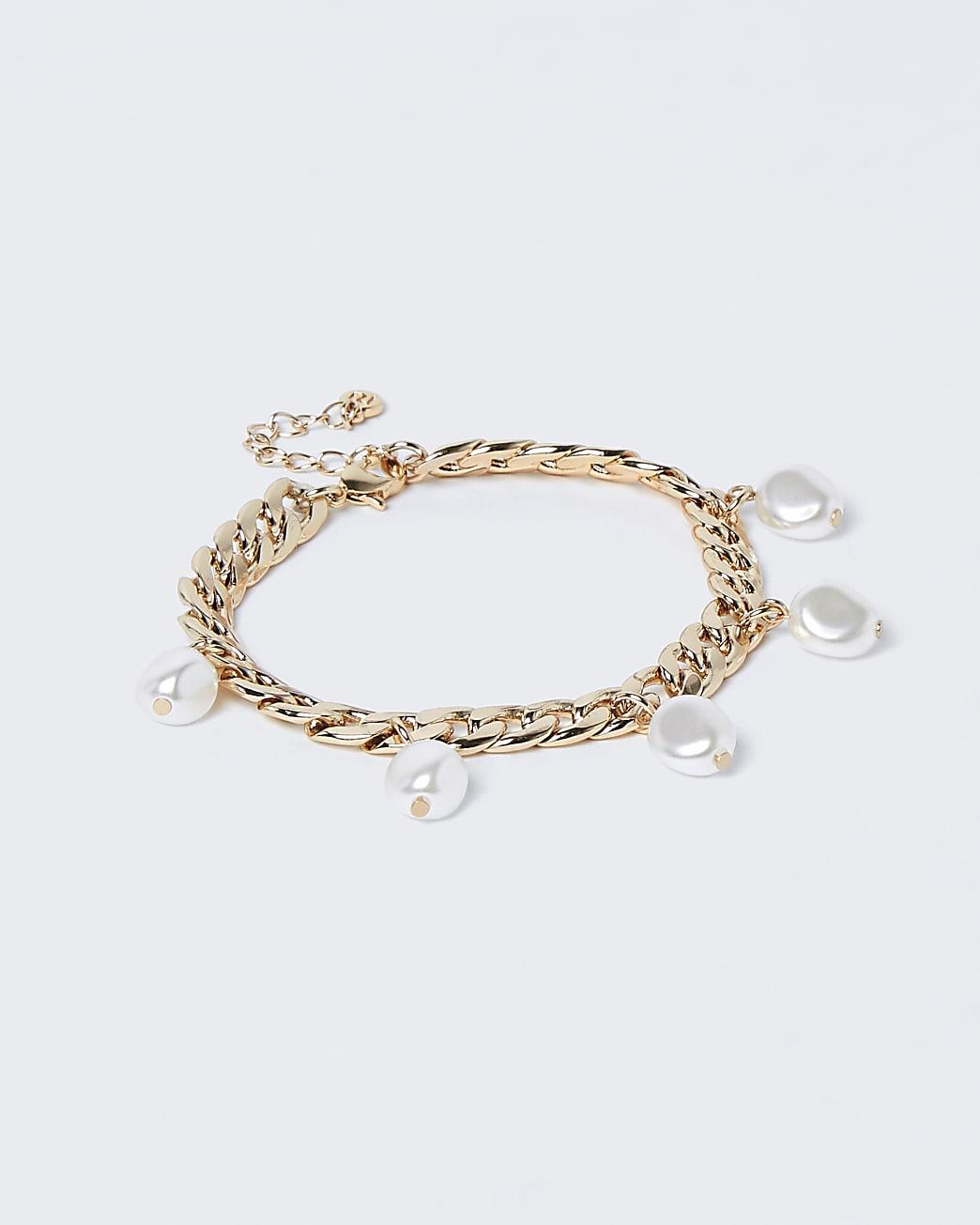 Gold colour chain pearl charm bracelet