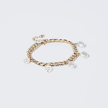 Gold colour chain pearl charm bracelet