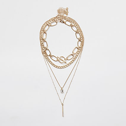 Gold colour chain pendant layered necklace